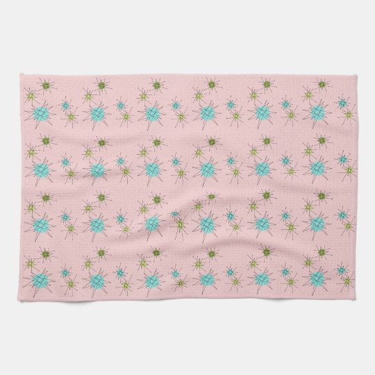 Pink Iconic Atomic Starbursts Kitchen Towel