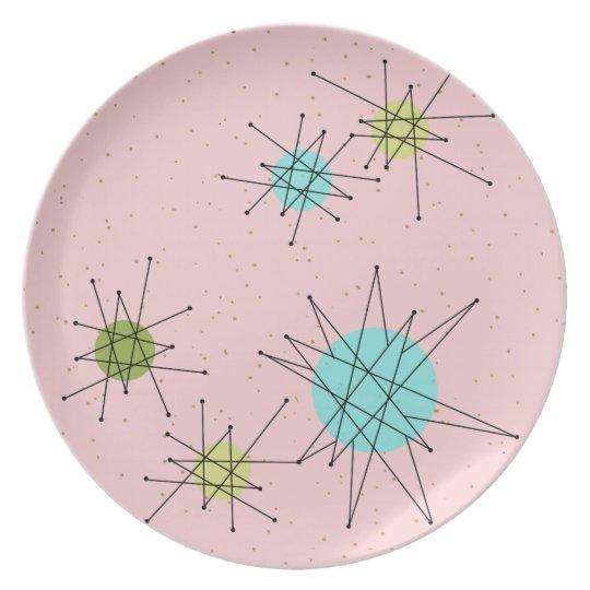 Pink Iconic Atomic Starbursts Melamine Plate
