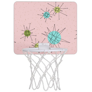 Pink Iconic Atomic Starbursts Mini Basketball Hoop