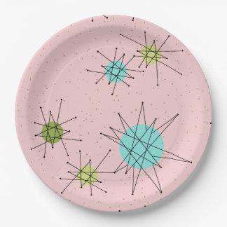Pink Iconic Atomic Starbursts Paper Plates