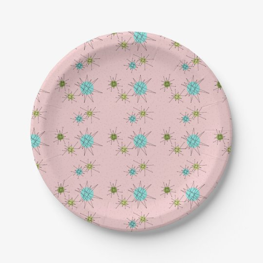 Pink Iconic Atomic Starbursts Paper Plates 7 Inch Paper Plate