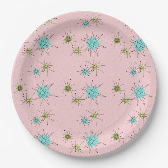 Pink Iconic Atomic Starbursts Paper Plates 9 Inch Paper Plate