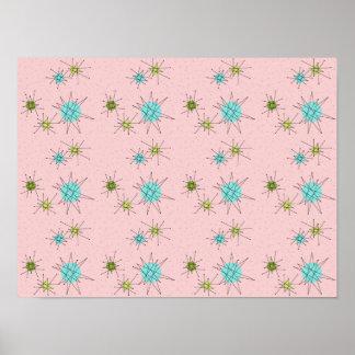 Pink Iconic Atomic Starbursts Poster