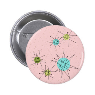 Pink Iconic Atomic Starbursts Round Button
