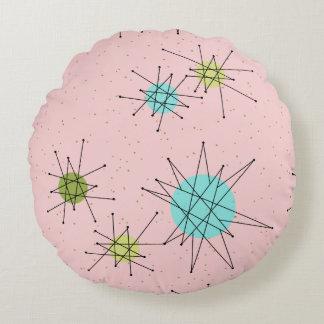 Pink Iconic Atomic Starbursts Round Pillow