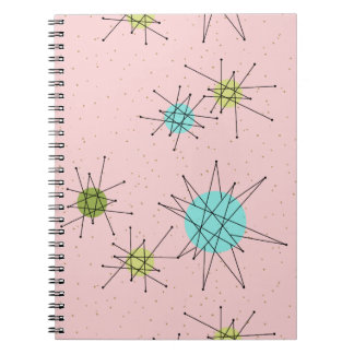 Pink Iconic Atomic Starbursts Spiral Notebook