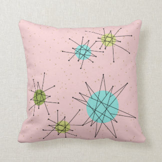 Pink Iconic Atomic Starbursts Throw Pillow