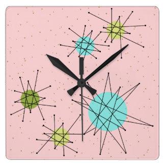 Pink Iconic Atomic Starbursts Wall Clock