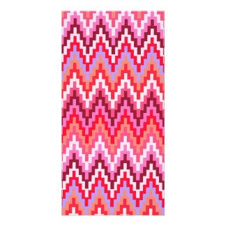 Pink Ikat Chevron Geometric Zig Zag Stripe Pattern Customised Photo Card