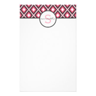 Pink Ikat Monogram Stationery Paper