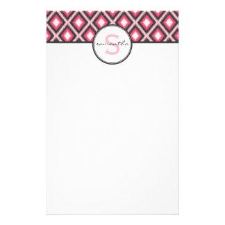 Pink Ikat Monogram Stationery