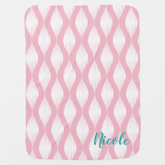 Pink ikat pattern baby blanket with custom name