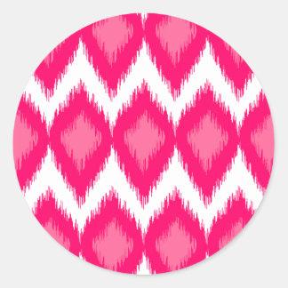 Pink Ikat Style Weave Pattern Classic Round Sticker