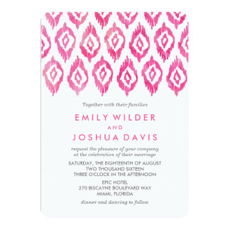 Pink Ikat Watercolor | Wedding Invitation