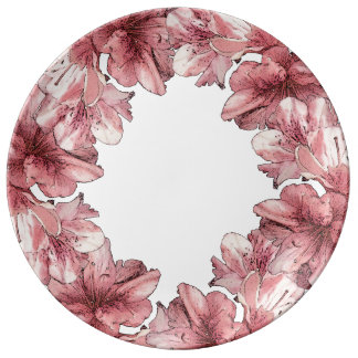 Pink Illustrated Flower Customize Wedding Set Porcelain Plates