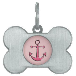 Pink Image of Metallic Anchor Pet Name Tag