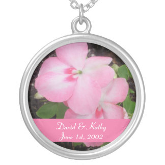 Pink Impatiens Flower Necklace