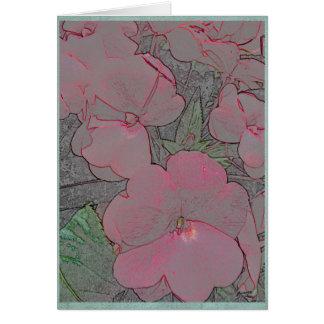 Pink impatiens in a summer garden card