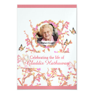 Pink In Loving Memory Funeral Memorial Vintage 9 Cm X 13 Cm Invitation Card