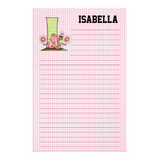 """Pink Inch Worm Mongram """"I"""" Lined Stationery"""