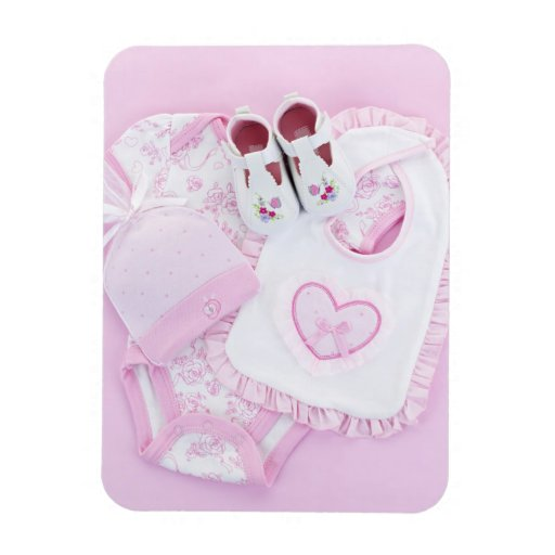 Pink infant clothes for baby shower magnet