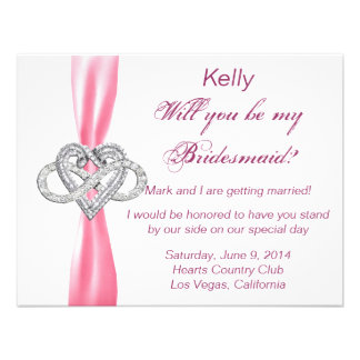 Pink Infinity Heart Bridesmaid Card