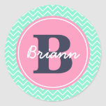 Pink Initial, and Name Classic Round Sticker