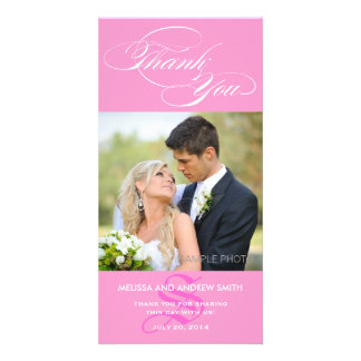PINK INITIAL SCRIPT WEDDING THANK YOU PHOTO CARD