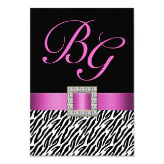 Pink Initials Zebra Stripes Wedding RSVP 9 Cm X 13 Cm Invitation Card