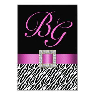 Pink Initials Zebra Stripes Wedding RSVP 3.5x5 Paper Invitation Card