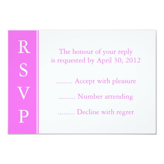 Pink Invitation or Event RSVP Reply Cards