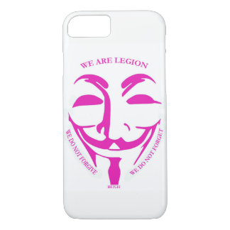 Pink Iphon 7 case with Anonymous decor