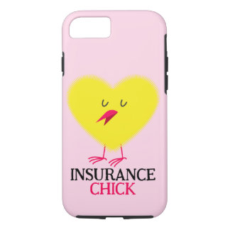 Pink iPhone 7 case with Insurance Chick graphic