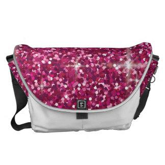 Pink iridescent glitter commuter bags
