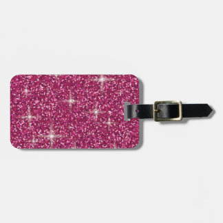 Pink iridescent glitter luggage tag