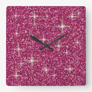 Pink iridescent glitter square wall clock