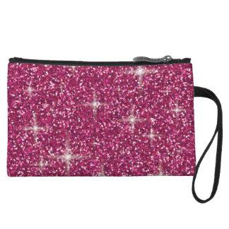 Pink iridescent glitter wristlet