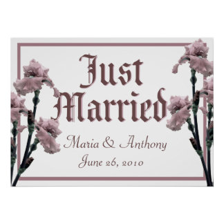 Pink Iris/ Just Married Sign Print