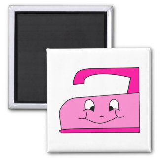 Pink Iron Cartoon. On White. Square Magnet