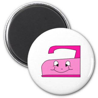 Pink Iron Cartoon. On White. 6 Cm Round Magnet