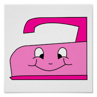 Pink Iron Cartoon On White Posters