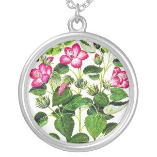 Pink Italian Hibiscus flowers, vintage print Pendant