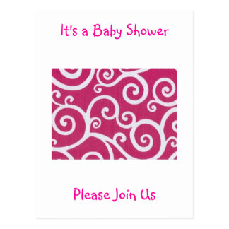Pink  It's a Baby Shower Postcard