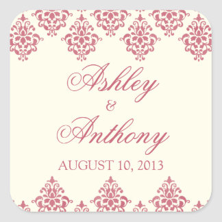 Pink Ivory Arabesque Damask Wedding Seal Stickers