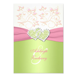 Pink Ivory Green Joined Hearts Monogram Invitation