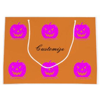Pink Jack o'lantern Halloween Thunder_Cove Large Gift Bag