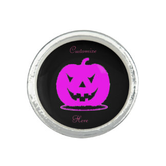 Pink Jack o'lantern Halloween Thunder_Cove Ring