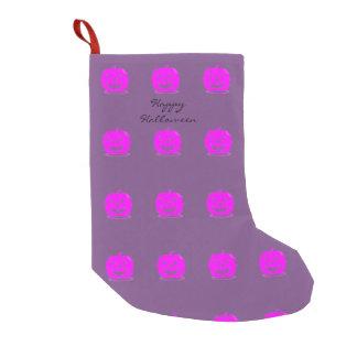 Pink Jack o'lantern Halloween Thunder_Cove Small Christmas Stocking