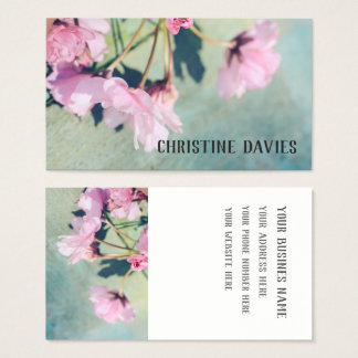 Pink Japanes cherry blossom, floral business card
