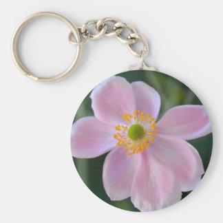Pink japanese anemone flower key ring